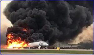 ロシア炎上飛行機事故