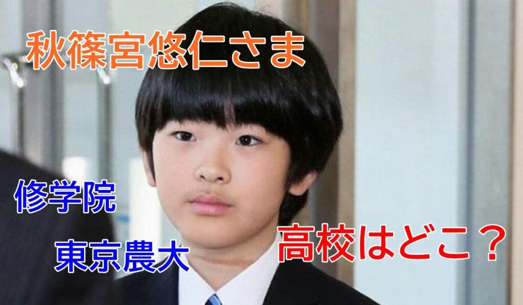 秋篠宮悠仁さま、学習院、東京農大、高校はどこ?