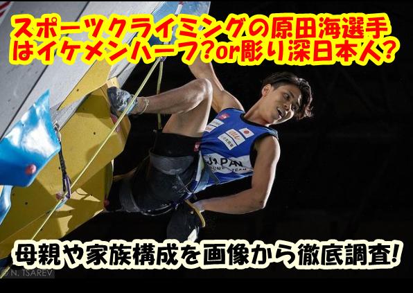 スポーツクライミング原田海はイケメンハーフor彫り深日本人?母親や家族構成と画像から徹底調査!